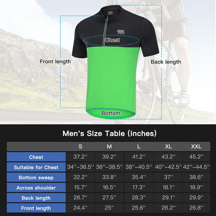 Souke Sports Men's Quick Dry Cycling Jersey Shirts with 3 Rear Pockets-CS2011-Green/Black