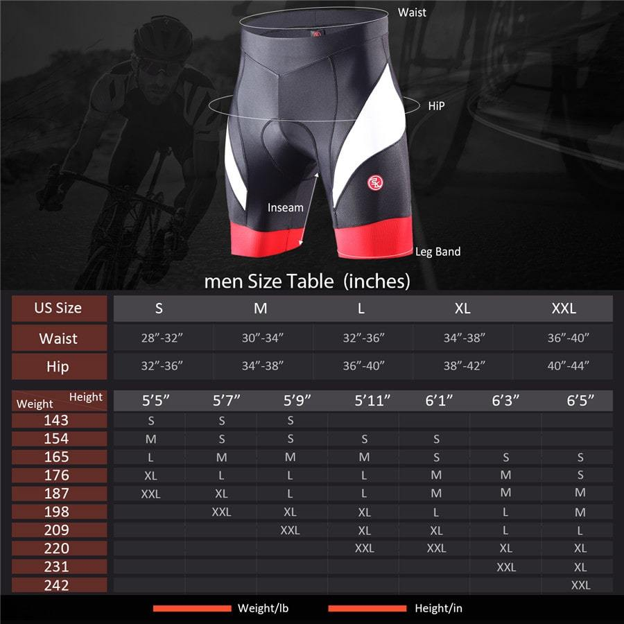 Souke Sports Men's Eco-Daily 4D Padded Bicycle Shorts-PS5000-Red