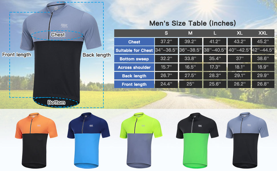 Souke Sports Men's Quick Dry Cycling Jersey Shirts with 3 Rear Pockets