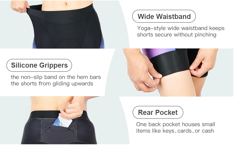 Souke Sports Women's 4D Padded Cycling Shorts with Pockets