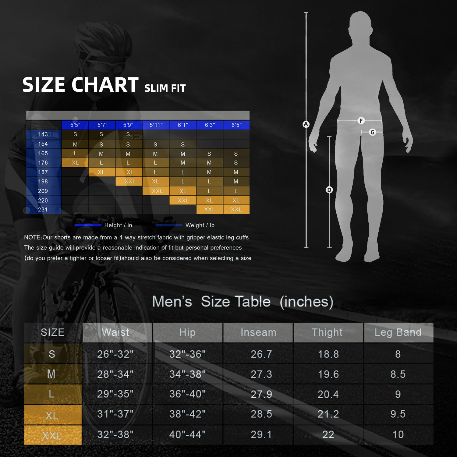 Souke Sports Men's Bicycle Pants 4D Padded Road Bike Tights Breathable Cycling Long Leggings