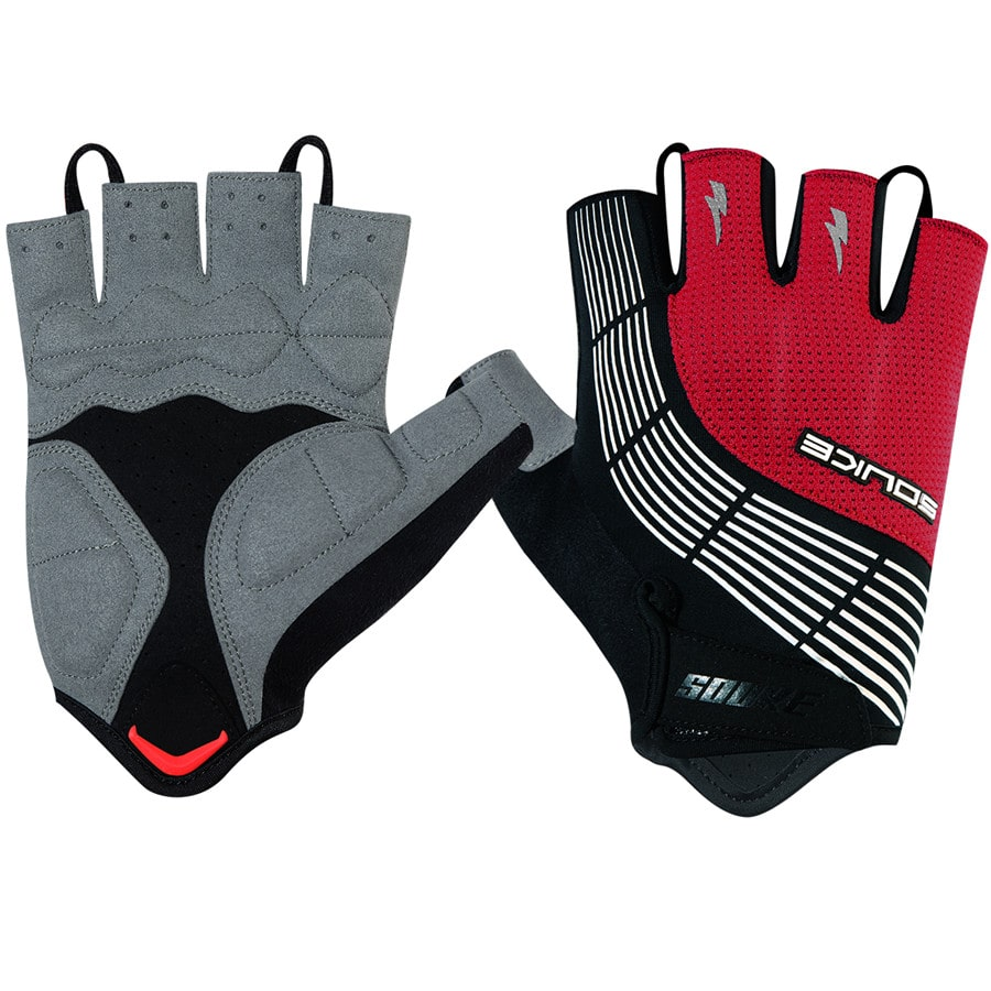 souke sports,souke ST1901,cycling accessories, riding accessories, cycling gloves, half finger cycling gloves, bicycle gloves for men and women, road bike cycling gloves, black and red cycling gloves, cycling gloves padded, padded cycling gloves for men and women,