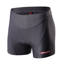 Load image into Gallery viewer, souke sports, souke, souke ps6011, souke sports ps6011, women's cycling shorts, women's cycling underwear, eco-daily, cycling underwear for summer, cycling clothing, cycle gear, bike clothing, cycling shorts, cycling underwear, grey cycling underwear, quick dry cycling underwear, padded cycling shorts, cycling shorts underwear for women