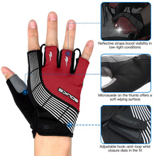 Load image into Gallery viewer, souke sports, souke ST1901, cycling accessories, riding accessories, cycling gloves, half finger cycling gloves, bicycle gloves for men and women, road bike cycling gloves, black and red cycling gloves, cycling gloves padded, padded cycling gloves for men and women,