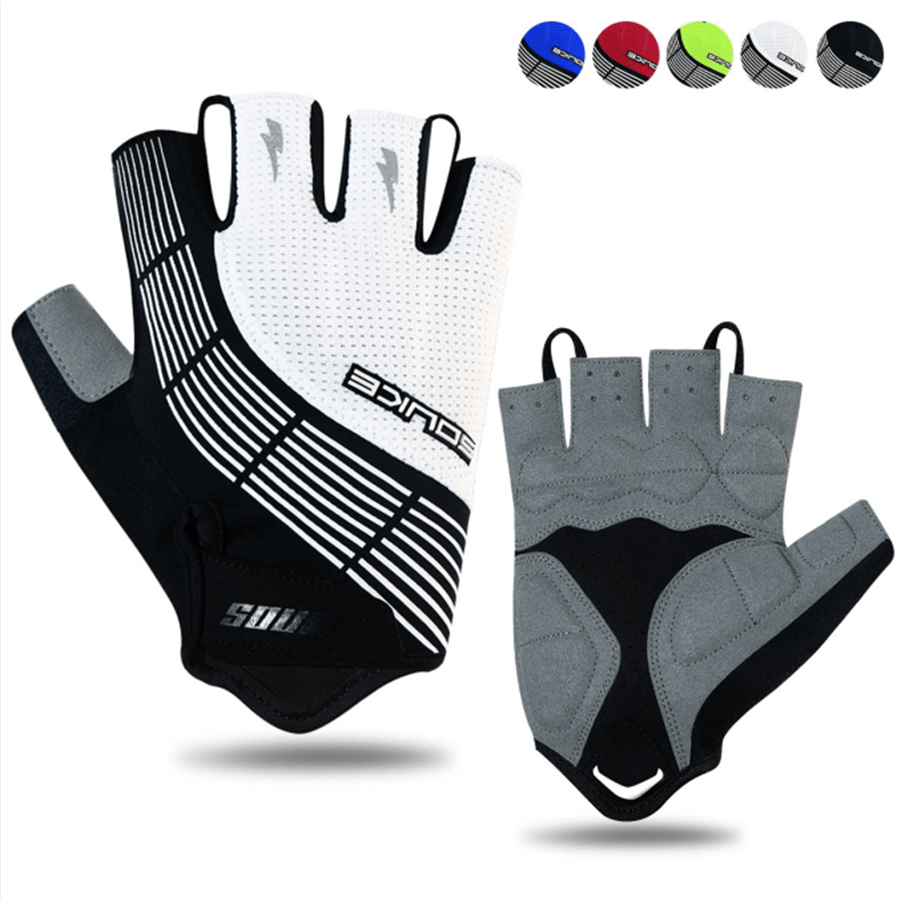Souke Sports Men's Women's Padded Half Finger Cycling Bike Gloves-White