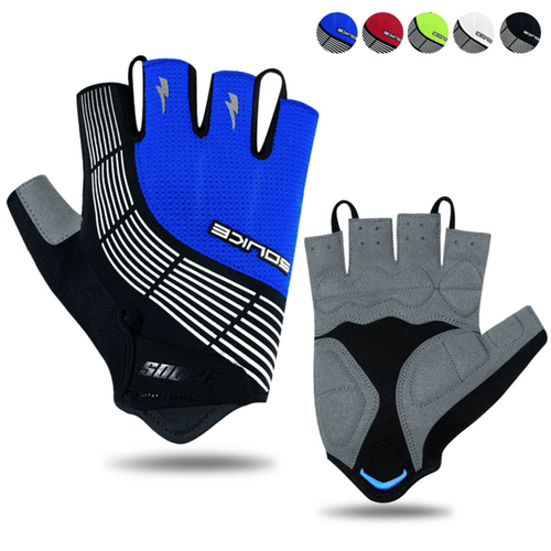 souke sports, souke ST1901,cycling accessories, riding accessories, cycling gloves, half finger cycling gloves, bicycle gloves for men and women, road bike cycling gloves, black and blue cycling gloves, cycling gloves padded, padded cycling gloves for men and women,