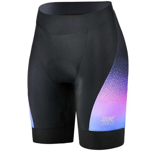Souke Sports, souke, souke sports ps0720, women's cycling shorts with pockets,  women's cycling shorts, cycle gear, cycling clothing, bike clothing,  cycling shrots, cycling knickers, quick dry, cycling shorts padded, padded bike pants for women, cycling shorts for summer, black and purple cycling shorts, black and purple cycling knickers for women, 4d Padded, best affordable cycling knickers,