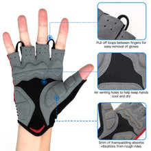 Load image into Gallery viewer, souke sports, souke ST1901,cycling accessories, riding accessories, cycling gloves, half finger cycling gloves, bicycle gloves for men and women, road bike cycling gloves, black and red cycling gloves, cycling gloves padded, padded cycling gloves for men and women,