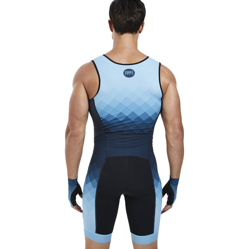 souke sports, bike clothing, cycle gear, cycling clothing, cycling skinsuit, sleeveless cycling skinsuit, sleeveless bike skinsuit, sleeveless skinsuit, blue skinsuit, cycling skinsuit for men, padded skinsuit for men, sleeveless biking skinsuit for men, breathable skinsuit, breathable cycling skinsuit, quick dry skinsuit quick dry bike skinsuit for men