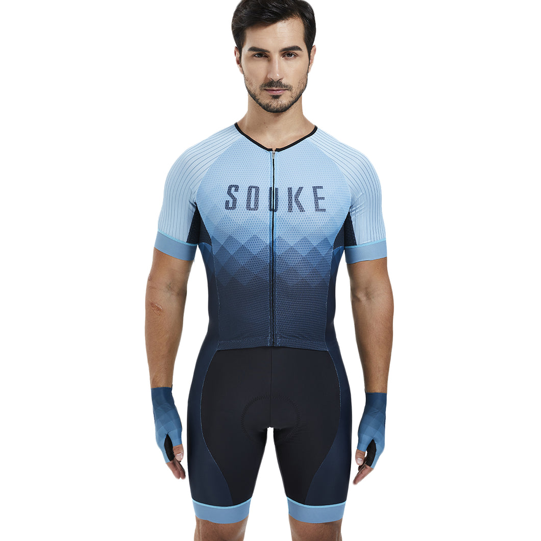 Souke Sports Men's Stretchable Quick dry Max Short Sleeve Cycling Skinsuit