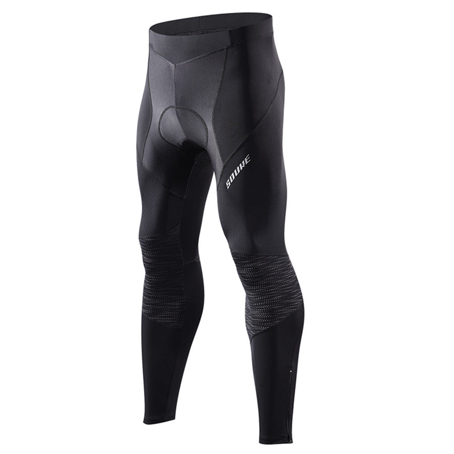Souke Sports Men's Bicycle Pants 4D Padded Road Bike Tights Breathable Cycling Long Leggings-PL8055-Black