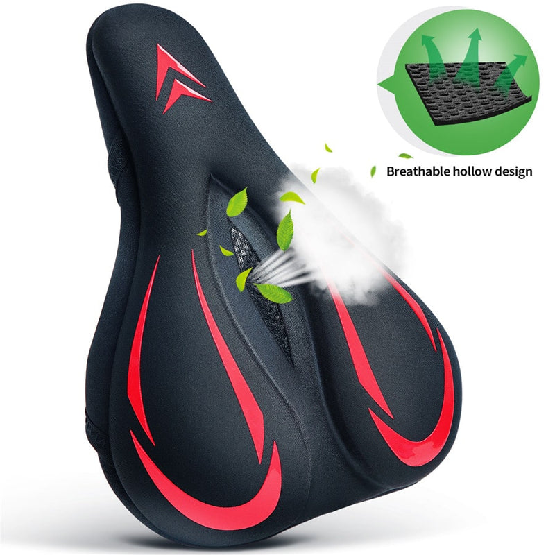 souke sports, souke, bike accessories, bicycle saddle, cycling accessories, waterproof bicycle saddle, breathable bicycle saddle, souke CA2201, Black and red bicycle saddle, comfortable riding accessories,