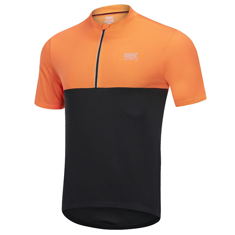 Souke Sports Men's Quick Dry Cycling Jersey Shirts with 3 Rear Pockets-Orange/Black