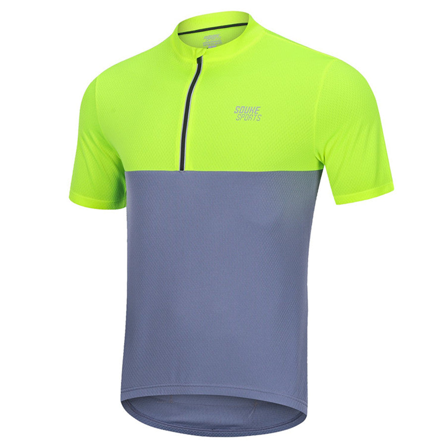 Souke Sports Men's Quick Dry Cycling Jersey Shirts with 3 Rear Pockets-Yellow/Grey
