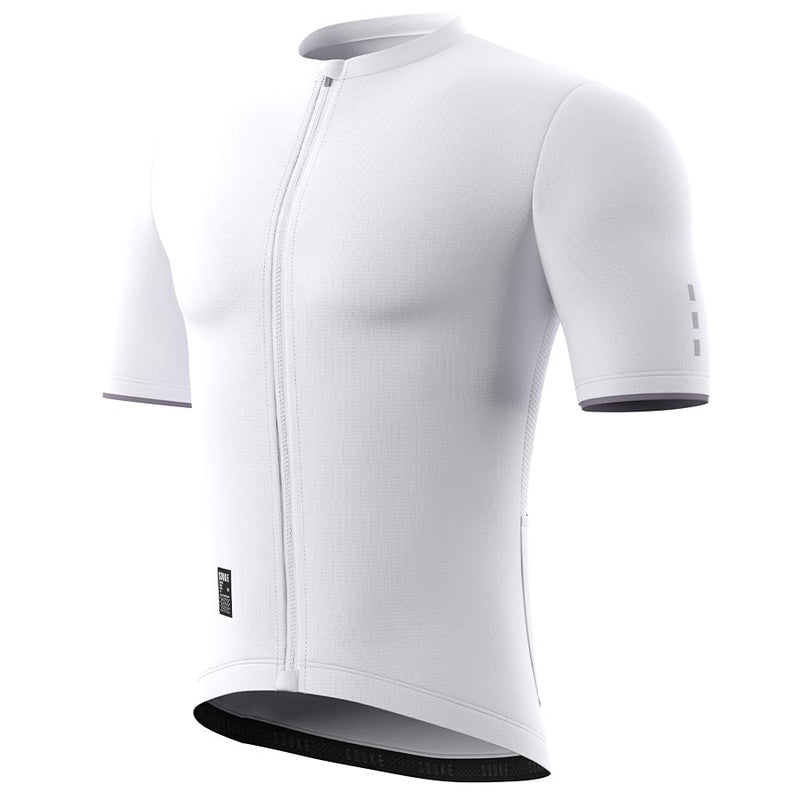 Souke Men's  Pro Team Race Fit Solid Cycling Jersey-CS1105-White