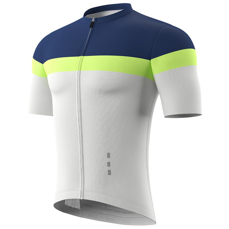 Souke Men's  Pro Team Race Fit Cycling Jersey-CS1106-Dark Blue-Grey