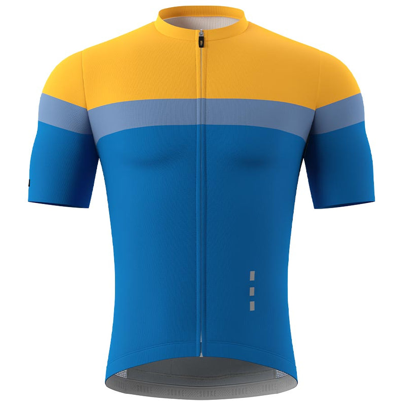 Souke Men's  Pro Team Race Fit Cycling Jersey-CS1106-Yellow-Blue