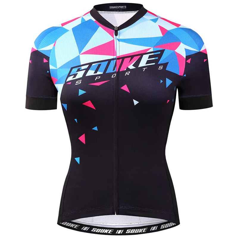 Souke Sports Women's Digital Printing camouflage Quick Dry Cycling jersey-CS2115-Blue