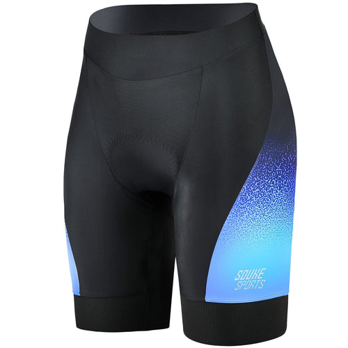 Souke Sports, souke, souke sports ps0720, women's cycling shorts with pockets,  women's cycling shorts, cycle gear, cycling clothing, bike clothing,  cycling shrots, cycling knickers, quick dry, cycling shorts padded, padded bike pants for women, cycling shorts for summer, black and blue cycling shorts, black and blue cycling knickers for women, 4d Padded, best affordable cycling knickers,