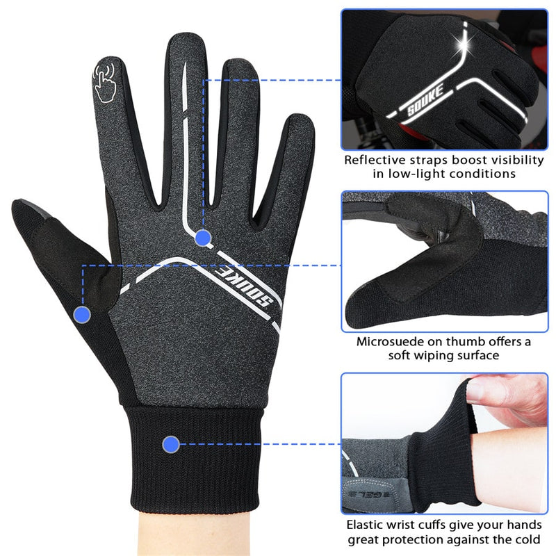 souke sports, souke ST1902, cycling accessories, riding accessories, cycling gloves, FULL finger cycling gloves, bicycle gloves for men and women, road bike cycling gloves, black and white cycling gloves, cycling gloves padded, padded cycling gloves for men and women,