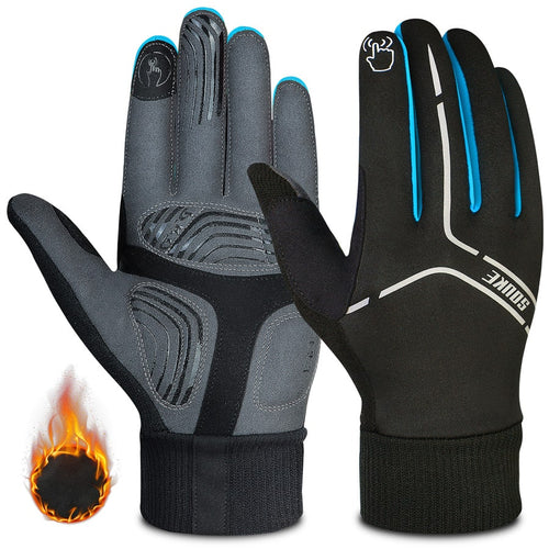 souke sports, souke ST1902, cycling accessories, riding accessories, cycling gloves, FULL finger cycling gloves, bicycle gloves for men and women, road bike cycling gloves, black and blue cycling gloves, cycling gloves padded, padded cycling gloves for men and women,