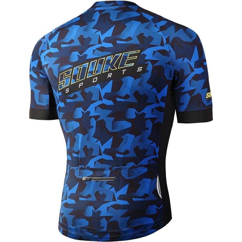 Souke Sports Men's Digital Printing camouflage Quick Dry Cycling jersey with 3 pockets back-CS2113-Blue