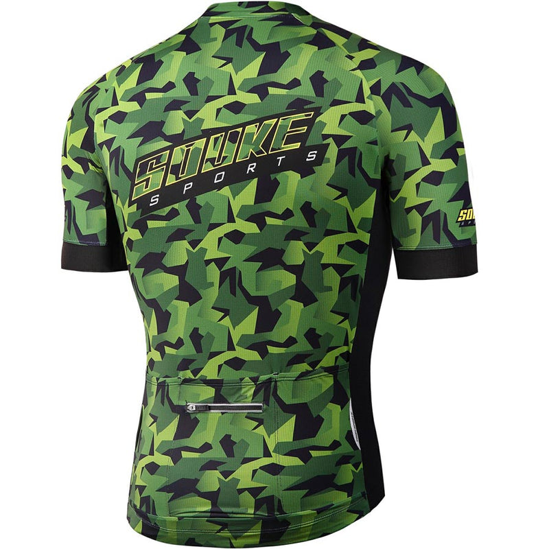 Souke Sports Men's Digital Printing camouflage Quick Dry Cycling jersey with 3 pockets back-CS2113-Green