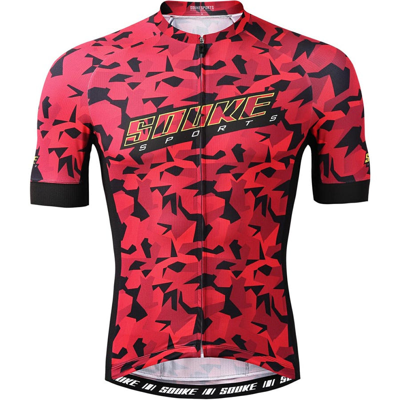 Souke Sports Men's Digital Printing camouflage Quick Dry Cycling jersey with 3 pockets back-CS2113-Red