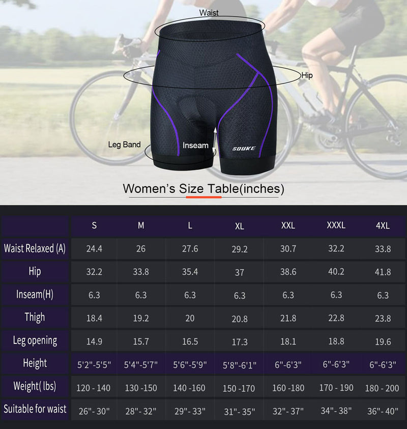 Souke Sports Women's Quick Dry Cycling Underwear-PS6013-Purple