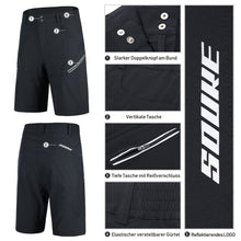 Load image into Gallery viewer, Souke Sports Mens Mountain Bike Biking Shorts  MTB Shorts  with Zip Pockets-PS3012-Black