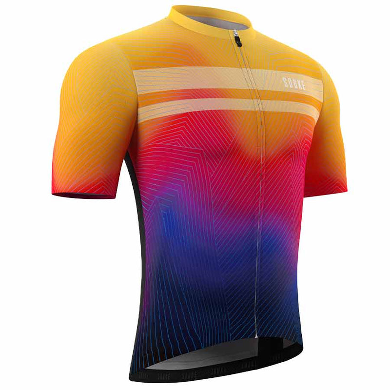Souke Heren Pro Cycling Kit CS1104 Oranje + BS1606 Zwart