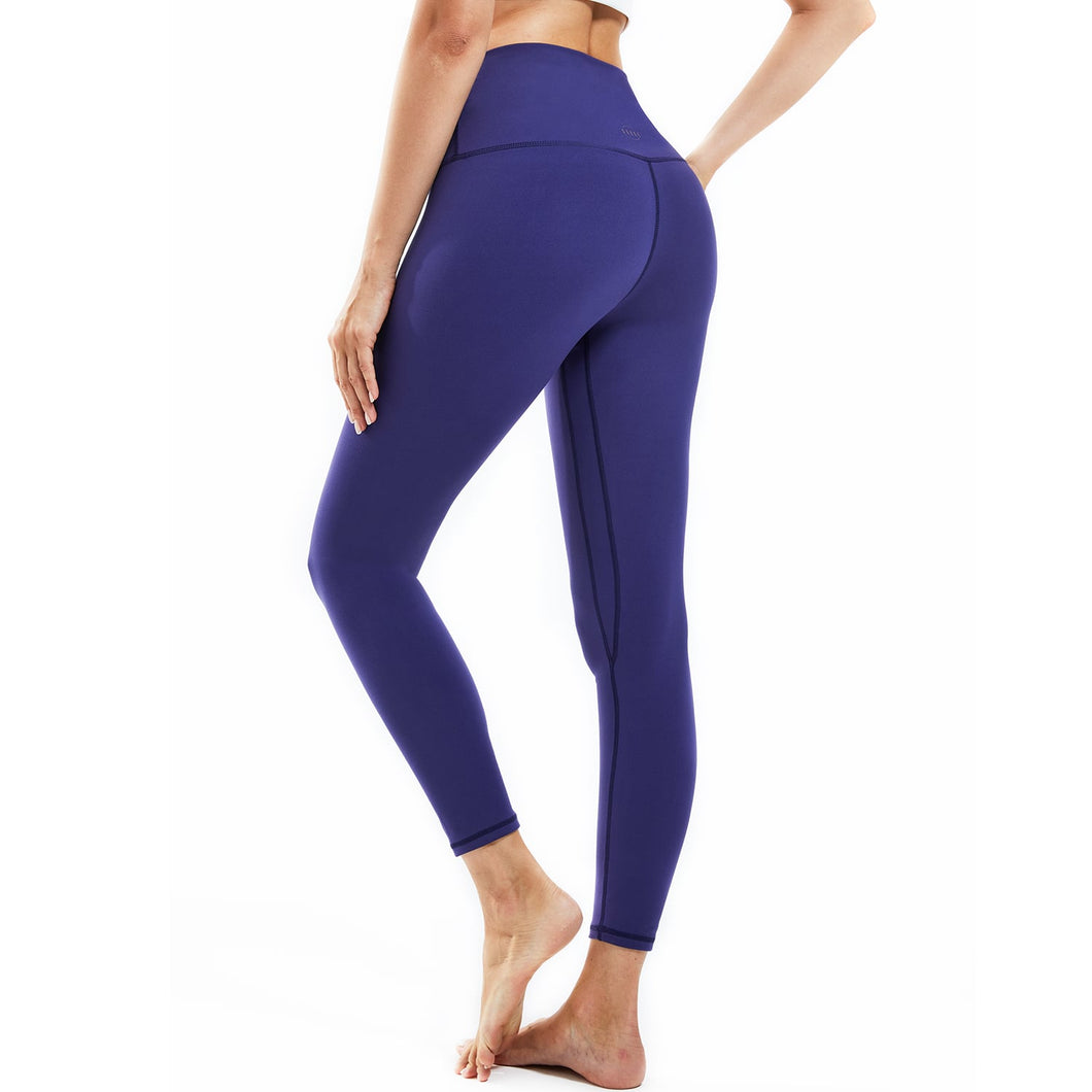 Souke Sports Women's Breathable High Ductility High Waist Pure Color Yoga Pants-Purple