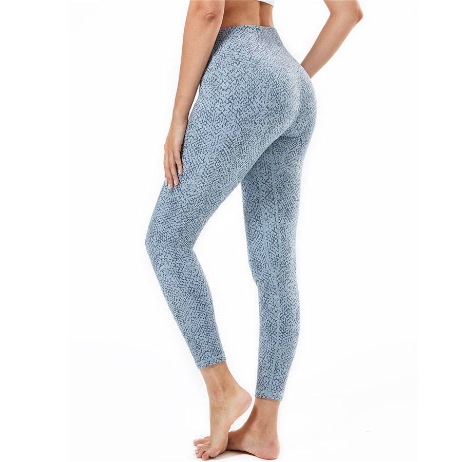 Souke Sports Womens Breathable High Ductility High Waist Yoga Pants- Light Blue Snake