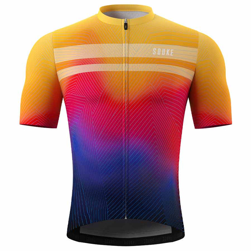 Souke Men's Hi Race Quick Dry Tie Dye Pro Biker Short Sleeve Cycling Jersey, Extreme Comfort, CS1104-Orange