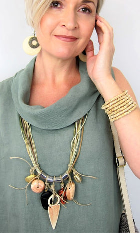 Bold Adventurous Africa Meets Italy Statement Necklace