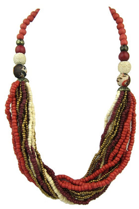 Bold Multi Strand Beaded Necklace