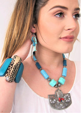 Chunky Turquoise Necklace with Metal Pendant