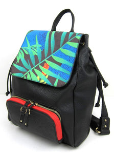 faux leather bag, shoulder bag, ladies accessories, womens handbag, Tropical backpack, Medium Faux Leather Funky Fashion Colourful Backpack, Styilsh Backpack, Fashion Backpack, Immitation Leather Backpack, tropical vegan leather fashion backpack, vegan leather bags, ladies vegan leather backpack