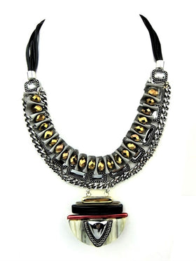 Designer Statement Necklace In Bronze And Gunmetal