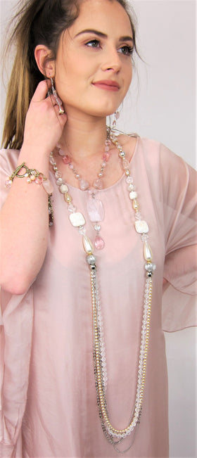 Elegant Long Semi Precious Crystal And Pearl Necklace
