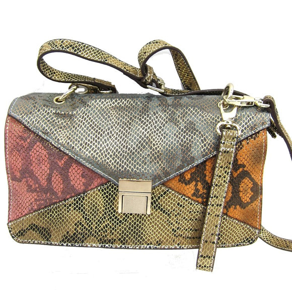genuine leather, shoulder bag, elegant multi snake print, ladies fashion, womens fashion accessories, stylish bag, fashion bags