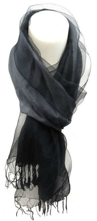 fashionable scarf, ladies scarf, ladies accessories, stylish, sheer scarf slate, Elegant Silk and Organza Style Oblong Scarf Accessory, silk and polyester, black fashion scarf