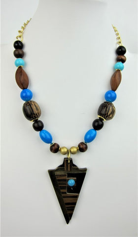 Ethnic Charm, Wood And Italian Bead Necklace