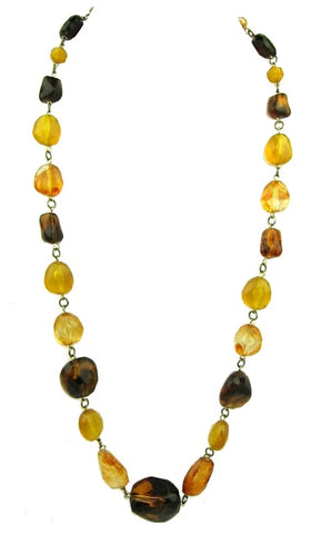 Fashionable Amber Coloured Beaded Necklace