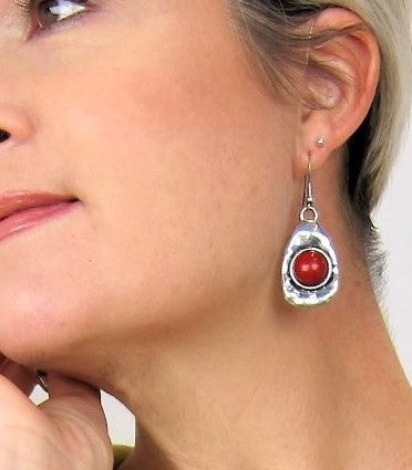 Stylish fashion earrings, Coloured Cabuchon, Coral earring, immitation earrings