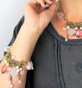 semi precious bracelet, rose quarts fashion bracelet, made in austaralia