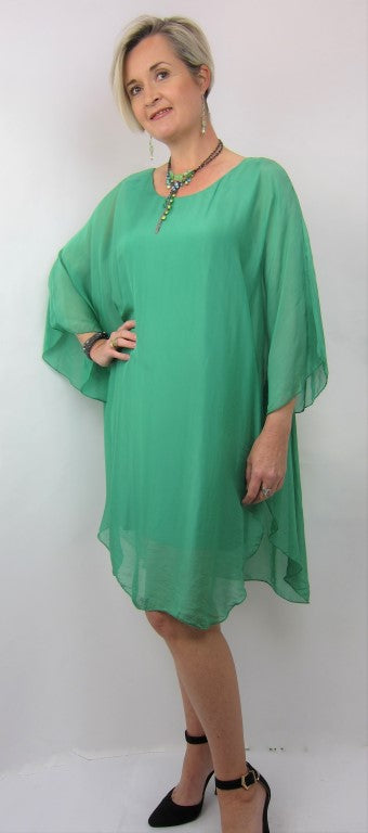Italian 3/4 Sleeve Free Size Ladies Tunic, Emerald Silk Tunic, Womens Fashion, Clothing, Ladies Wear
