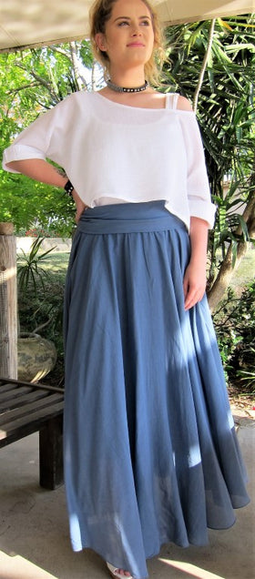 Italian Cotton Flexible Size Flowing Maxi Skirt