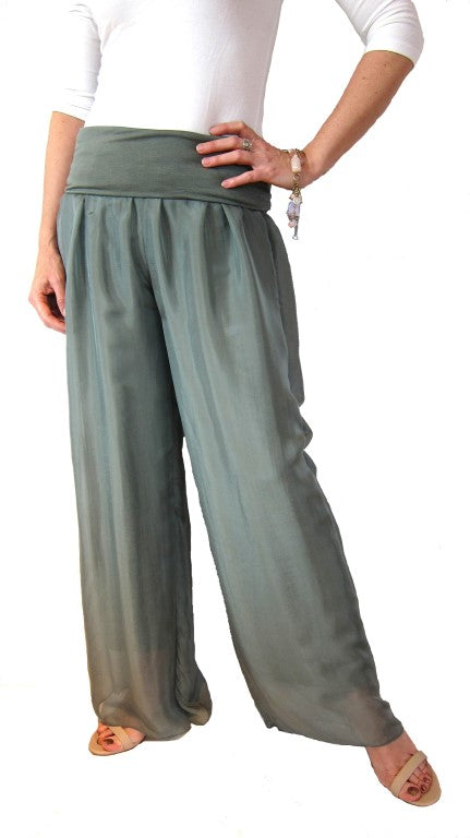 Italian Silk Long Flowing Ladies pants Sage, Womens Fashion, Ladies wear, Formal Wear, conti moda,