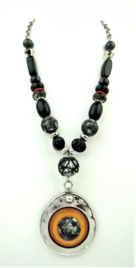 Italian Vintage Bead Stylish Black Necklace